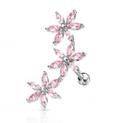Helix 3er Blume silber rosa...