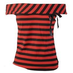 Top Bluse rot schwarz Masche M