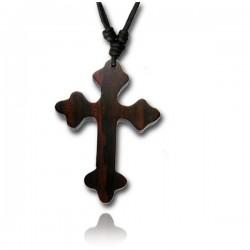 Kette Holz Anhänger Kreuz