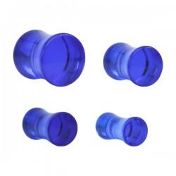 1 Paar Plug Acryl Saddle blau