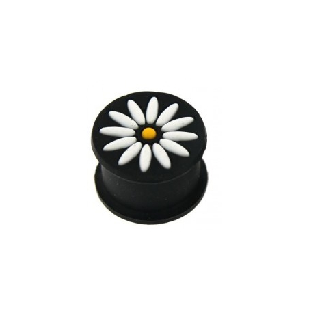1 Paar Plug Silikon schwarz Blume