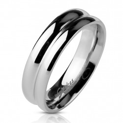 Ring Bandring silber Double...