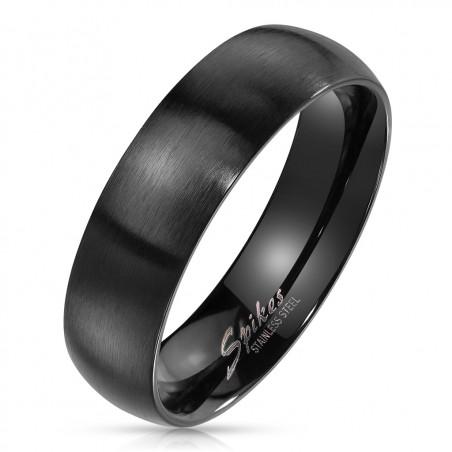 6mm Ring Bandring schlicht schwarz Seidenmatt