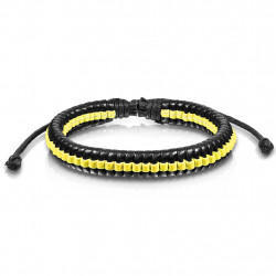 Armband Leder schwarz gelb