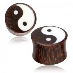 1 Paar Plug Holz in Yin Yang