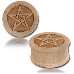 1 Paar Plug Holz Pentagramm